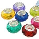 Acrylic European Beads, Rondelle, brass double core without troll, mixed colors, 14x9mm, Hole:Approx 5mm, 100PCs/Bag, Sold By Bag