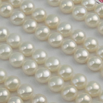 Half Drilled Cultured Freshwater Pearl Beads, Round, natural, half-drilled, white, 6.5-7mm, Hole:Approx 0.5mm, 56Pairs/Lot, Sold By Lot