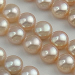 Half Drilled Cultured Freshwater Pearl Beads, Round, natural, half-drilled, 9-9.5mm, Hole:Approx 0.5mm, 30Pairs/Lot, Sold By Lot