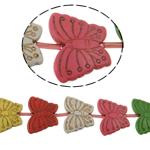 Turkusowe koraliki, Turkus syntetyczny, Motyl, mieszane kolory, 30x39x6.50mm, otwór:około 1mm, 12komputery/Strand, sprzedawane na około 15 cal Strand