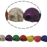 Turkusowe koraliki, Turkus syntetyczny, Czaszka, mieszane kolory, 18x17x14mm, otwór:około 1mm, około 23komputery/Strand, sprzedawane na około 15 cal Strand