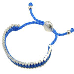 Friendship Bracelet, brass component with hand-knitted wax cord, blue color wax cord, adjustable, 13mm, Sold per 6-Inch Strand