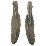 Iron Beak Clip Finding, with brass base, leaf shape, 12x53x1mm, 31mm, 100PCs/Bag, Sold by Bag