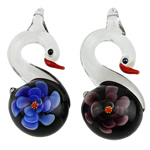 Inner Flower Lampwork Pendants, Swan, mixed colors, 58x25x14mm, Hole:Approx 5mm, 12PCs/Box, Sold By Box