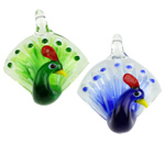 Mode Lampwork Pendants, Peacock, blandade färger, 47x36x22mm, Hål:Ca 4x5mm, 12PC/Box, Säljs av Box