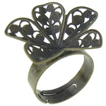 Brass Filigree Ring Base Flower antique bronze color plated adjustable nickel lead   cadmium free 24x24x5mm Hole:Approx 17.5mm US Ring Size:7.5 100PCs/Bag