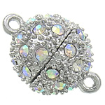 Zinc Alloy Magnetic Clasp, Drum, platinum color plated, with rhinestone & single-strand, nickel, lead & cadmium free, 14.50x21.20mm, Hole:Approx 1.5mm, 30PCs/Bag, Sold By Bag
