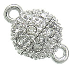 Zinc Alloy Magnetic Clasp, Drum, platinum color plated, with rhinestone & single-strand, nickel, lead & cadmium free, 10x16mm, Hole:Approx 1.7mm, 50PCs/Bag, Sold By Bag