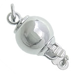 Brass Box Clasp, Round, platinum color plated, single-strand, nickel, lead & cadmium free, 8mm, Hole:Approx 2.2mm, 100PCs/Bag, Sold By Bag