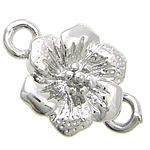 Zinc Alloy Magnetic Clasp, Flower, platinum color plated, hammered & single-strand, nickel, lead & cadmium free, 13.80x13.80x7mm, Hole:Approx 2.5mm, 50PCs/Bag, Sold By Bag