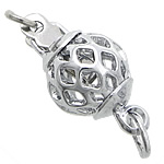 Brass Box Clasp, Round, platinum color plated, single-strand & hollow, nickel, lead & cadmium free, 8mm, Hole:Approx 2, 3mm, 100PCs/Bag, Sold By Bag