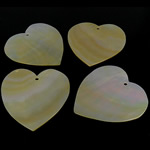 Natural Yellow Shell Pendants Heart yellow 55-56x55-56x1.5-2mm Hole:Approx 3mm 10PCs/Bag