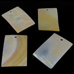 Wisiory z naturalnej żółtej muszli, Muszla żółta, Prostokąt, żółty, 26x40x1.5-2mm, otwór:około 3mm, 20komputery/torba, sprzedane przez torba