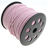 Velveteen Cord with plastic spool double-sided pink 3x1.50mm Length:100 Yard