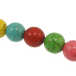 Turquoise Beads, Round, mixed colors, 10mm, Hole:Approx 1mm, Approx 40PCs/Strand, Sold Per Approx 15 Inch Strand
