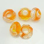 European kristalli helmiä, Millefiori Crystal, Rondelli, ilman peikko, oranssi, 14x7mm, Reikä:N. 6mm, 50PC/Strand, Myyty Per 14 tuuma Strand