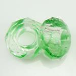 European kristalli helmiä, Millefiori Crystal, Rondelli, ilman peikko, vihreä, 14x7mm, Reikä:N. 6mm, 50PC/Strand, Myyty Per 14 tuuma Strand