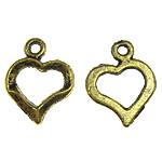 Подвески из металлического сплава, металлический сплав, Сердце, плакированный цветом под старое золото, 13x16.50x2mm, отверстие:Приблизительно 1.5mm, 3KG/Лот, продается Лот