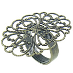 Brass Filigree Ring Base Flower antique bronze color plated nickel lead   cadmium free 33.8x26mm 4.8mm Hole:Approx 17mm US Ring Size:7 200PCs/Bag