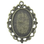Zinc Alloy Pendant Cabochon Setting, Flat Oval, antique bronze color plated, nickel, lead & cadmium free, 39.5x28.8mm, Hole:Approx 2.5mm, Inner Diameter:Approx 25.5x18mm, 50PCs/Bag, Sold By Bag