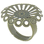 Brass Filigree Ring Base antique bronze color plated nickel lead   cadmium free 24.7x24.7mm 4.8mm Hole:Approx 17.2mm US Ring Size:7 100PCs/Bag