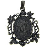 Zinc Alloy Pendant Cabochon Setting, Flower, antique bronze color plated, nickel, lead & cadmium free, 39x46x3mm, Hole:Approx 6x8mm, Inner Diameter:Approx 23x31mm, 30PCs/Bag, Sold By Bag