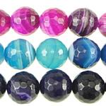 الطبيعية الخرز العقيق الرباط, الدانتيل العقيق, جولة, الأوجه, الألوان المختلطة, 12mm, حفرة:تقريبا 1.2mm, طول:تقريبا 15.5 بوصة, 6جدائل/الكثير, تباع بواسطة الكثير