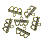 Metal Alloy Connector, antique bronze color plated, 1/3 loop, 23.70x16x1.30mm, Hole:Approx 3.5mm, 3KG/Lot, Sold By Lot