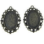 Zinc Alloy Pendant Cabochon Setting, Flat Oval, antique bronze color plated, nickel, lead & cadmium free, 29x40x2.5mm, Hole:Approx 2.5mm, Inner Diameter:Approx 19x26mm, 50PCs/Bag, Sold By Bag