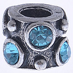 Zinc Alloy European Beads, Drum, without troll & with rhinestone, more colors for choice, nickel, lead & cadmium free, 11x8mm, Hole:Approx 4mm, Sold By PC