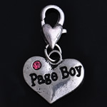 Zinc Alloy Lobster Clasp Charm, nickel, lead & cadmium free, 28x16x3mm, Hole:Approx 4mm, 10PCs/Bag, Sold By Bag