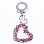 European Zinc Alloy Pendants, Heart, with rhinestone, pink, nickel, lead & cadmium free, 13x31x3.50mm, Hole:Approx 4mm, 10PCs/Bag, Sold By Bag