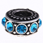 Zinc Alloy European Beads, Rondelle, antique silver color plated, without troll & with rhinestone, more colors for choice, nickel, lead & cadmium free, 12x6mm, Hole:Approx 5mm, Sold By PC
