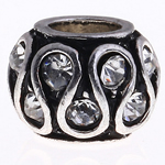 Zinc Alloy European Beads, Drum, without troll & with rhinestone, nickel, lead & cadmium free, 11x8mm, Hole:Approx 5mm, 10PCs/Bag, Sold by Bag