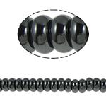 Niemagnetyczne koraliki z hematytu, Hematyt niemagnetyczny, Okrąg, czarny, gatunek, 10x6mm, otwór:około 1.5mm, długość:15.5 cal, 10nici/wiele, sprzedane przez wiele