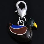 Zinc Alloy Lobster Clasp Charm, Duck, enamel, nickel, lead & cadmium free, 28x18x9mm, Hole:Approx 5mm, 10PCs/Bag, Sold By Bag