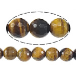 Natural Tiger Eye Beads, Round, machine faceted, earth yellow, 6mm, Hole:Approx 1mm, Length:Approx 15 Inch, 5Strands/Lot, Approx 60PCs/Strand, Sold By Lot