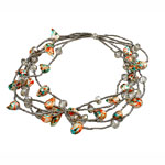 Crystal Freshwater Pearl Necklace, with Crystal & Glass Seed Beads, brass magnetic clasp, 13-27mm, Sold Per 17 Inch Strand