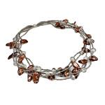Kryształowy naszyjnik z perłami słodkowodnymi, Perła naturalna słodkowodna, ze Kryształ & Koraliki szklane, Mosiądz zapięcie magnetyczne, 13-27mm, sprzedawane na 17 cal Strand