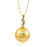Natural Akoya Cultured Pearl Pendant, Akoya Cultured Pearls, with Cubic Zirconia & 14K Gold, Round, golden, 13mm, 13x23mm, Hole:Approx 1.5x3.5mm, Sold By PC