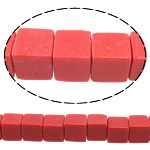 Coral Beads Cube red 6x6x6mm Hole:Approx 1mm Approx 66PCs/Strand Sold Per Approx 15.5 Inch Strand