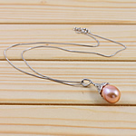 925 Sterling Silver Pearl Necklace, Freshwater Pearl, with 925 Sterling Silver, brass clasp, Teardrop, nickel color plated, pink, 11-12mm, Sold Per 15.5 Inch Strand