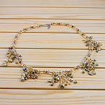 Crystal Freshwater Pearl Necklace, with Crystal, brass hook and eye clasp, 4x6mm, Sold Per 17 Inch Strand