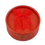 Cardboard Jewelry Set Box, finger ring & earring, with Velveteen, Flat Round, red, 84x36mm, 12PCs/Bag, Sold By Bag