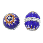 Millefiori Glass Beads, Oval, with rhinestone, blue, 11.50x10mm, Hole:Approx 0.5mm, 10PCs/Bag, Sold By Bag