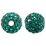 Czech Rhinestone Beads, Clay Pave, Round, with 75 pcs rhinestone & with Czech rhinestone, green, 8mm, Hole:Approx 2mm, 10PCs/Bag, Sold By Bag