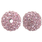 Czech Rhinestone Beads Clay Pave Round with 99 pcs rhinestone   with Czech rhinestone pink 10mm Hole:Approx 2mm 10PCs/Bag