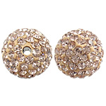 Czech Rhinestone Beads Clay Pave Round with Czech rhinestone gold Hole:Approx 2mm 10PCs/Bag