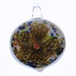 Inner Flower Lampwork Pendants, Leaf, 30x44x16mm, Hole:Approx 7x8mm, 10PCs/Bag, Sold By Bag