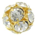 مجوهرات حجر الراين الخرز, النحاس, جولة, لون الذهب مطلي, مع حجر الراين, 12x12mm, حفرة:تقريبا 1.5mm, 50أجهزة الكمبيوتر/حقيبة, تباع بواسطة حقيبة